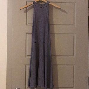 Navy blue and white halter dress
